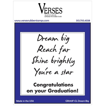 Verses DREAM BIG Cling Stamp GR010FCL