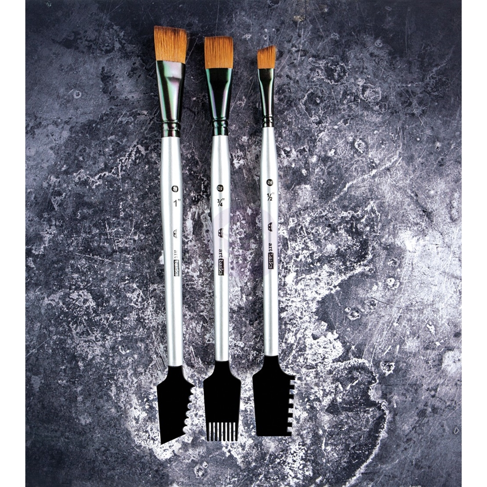 Prima Marketing DOUBLE SIDED TEXTURE BRUSHES SET 1 Art Basics 963873 zoom image