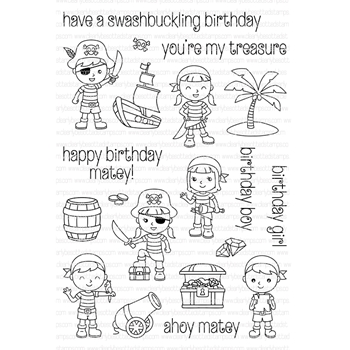 Clearly Besotted PIRATE PARTY Clear Stamp Set