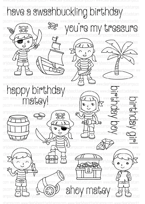 Clearly Besotted PIRATE PARTY Clear Stamp Set  zoom image