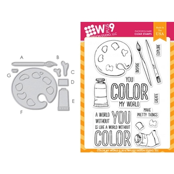 Wplus9 COLOR MY WORLD SET Clear Stamp And Die Combo WPLUS291