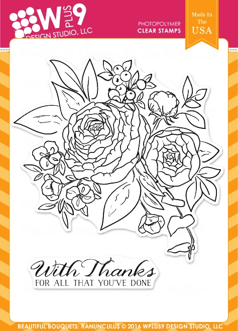 Wplus9 BEAUTIFUL BOUQUET RANUNCULUS Clear Stamps CLWP9BBR zoom image