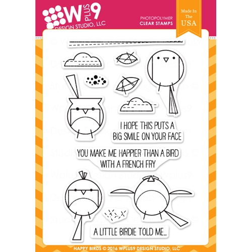 Wplus9 HAPPY BIRDS Clear Stamps CLWP9HB Preview Image