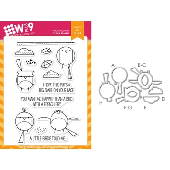 Wplus9 HAPPY BIRDS SET Clear Stamp And Die Combo WPLUS287