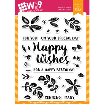 Wplus9 HAPPY WISHES Clear Stamps CLWP9HW
