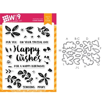 Wplus9 HAPPY WISHES SET Clear Stamp And Die Combo WPLUS290
