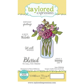Taylored Expressions WILDFLOWER BOUQUET Cling Stamp Set TEPS184