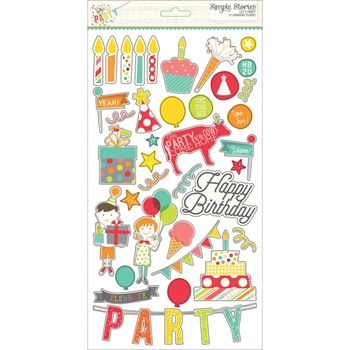 Simple Stories LET'S PARTY 6 x 12 Chipboard Stickers 5328