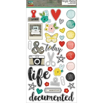 Simple Stories LIFE IN COLOR 6 x 12 Chipboard Stickers 5028