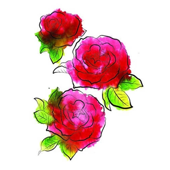 Rubbernecker THREE ROSES Layering Cling Stamps 913