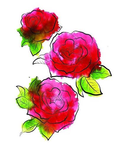 Rubbernecker THREE ROSES Layering Cling Stamps 913 zoom image