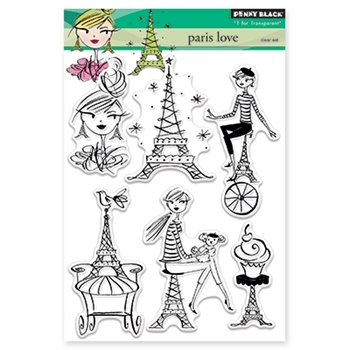 Penny Black PARIS LOVE Clear Stamp Set 30-332