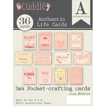Authentique CUDDLE GIRL 3 x 4 Journaling Cards GCD022