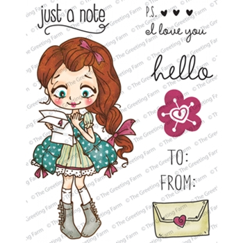 The Greeting Farm DOLLIE WITH LETTER Cling Stamps TGF221