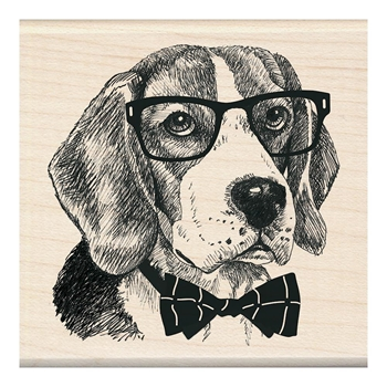 Inkadinkado Mounted Wood NERDY DOG Stamp 60-01242