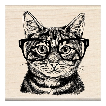 Inkadinkado Mounted Wood NERDY CAT Stamp 60-01220