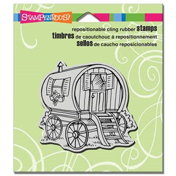 Stampendous Cling Stamp TINY HOUSE WAGON Rubber UM CRQ225