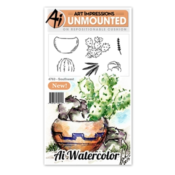 Art Impressions SOUTHWEST Watercolor Cling Rubber Stamps 4763