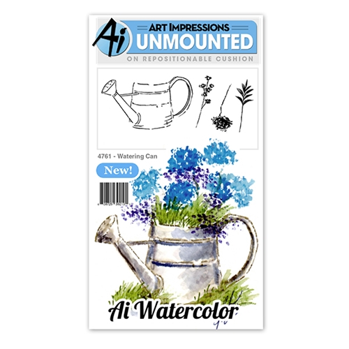 Art Impressions WATERING CAN Watercolor Cling Rubber Stamps 4761 Preview Image