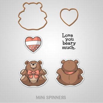 Art Impressions BEAR MINI SPINNERS Cling Rubber Stamps and Die Set 4736