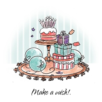 Art Impressions MAKE A WISH SET Cling Rubber Stamps 4744
