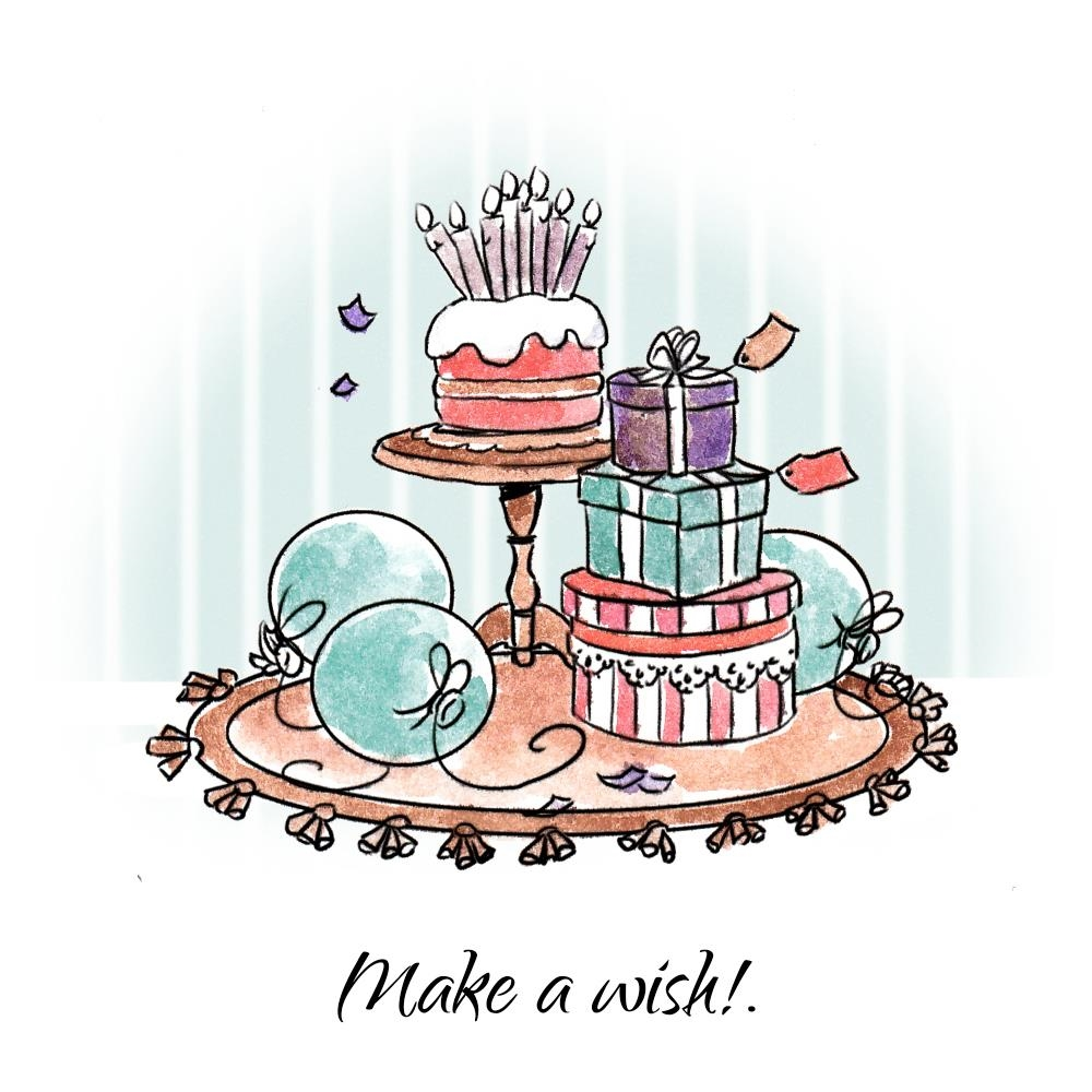Art Impressions MAKE A WISH SET Cling Rubber Stamps 4744 zoom image