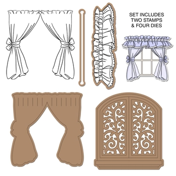 Art Impressions WINDOW DECO Cling Rubber Stamps and Dies Set 4749