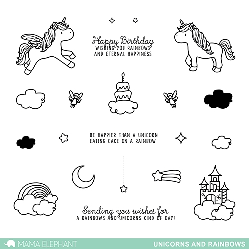 Mama Elephant Clear Stamp UNICORNS AND RAINBOWS  zoom image