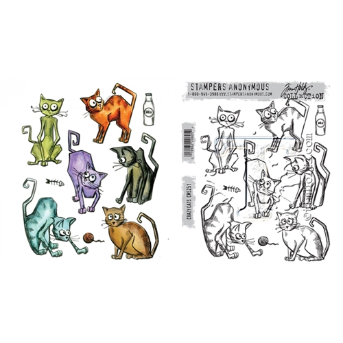 Tim Holtz Sizzix CRAZY CATS Framelits Die And Cling Stamp Set THS251 Preview Image