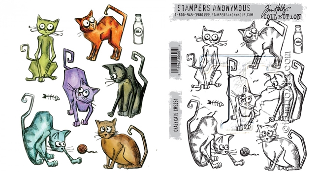 Tim Holtz Sizzix CRAZY CATS Framelits Die And Cling Stamp Set THS251 zoom image