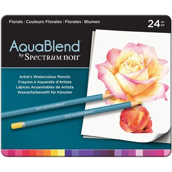 Crafter's Companion FLORALS Spectrum Noir AquaBlend Watercolour Pencils SPECABFLO24
