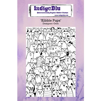 IndigoBlu Cling Stamp KIBBLE PUPS Rubber IND0233