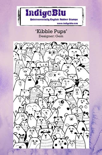 IndigoBlu Cling Stamp KIBBLE PUPS Rubber IND0233 zoom image