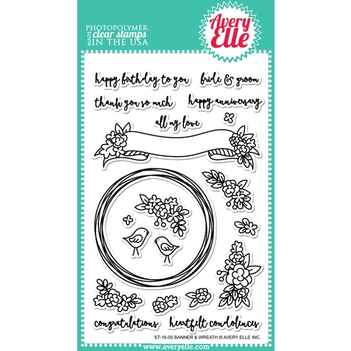Avery Elle Clear Stamp BANNER AND WREATH Set ST-16-05* Preview Image
