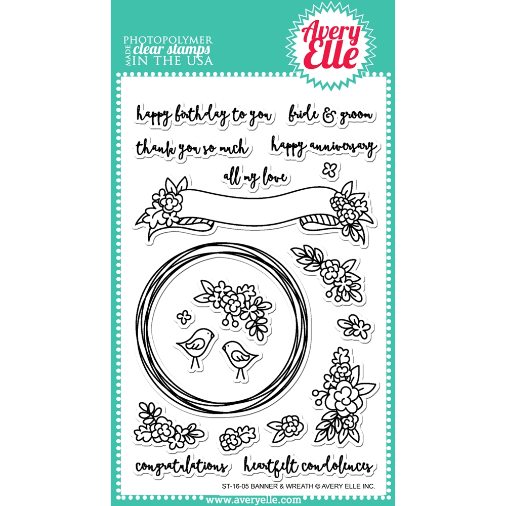 Avery Elle Clear Stamp BANNER AND WREATH Set ST-16-05* zoom image