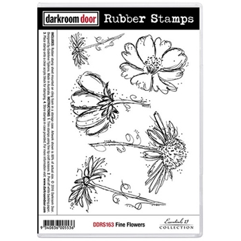 Darkroom Door Cling Stamp FINE FLOWERS Rubber UM DDRS163