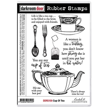 Darkroom Door Cling Stamp CUP OF TEA Rubber UM DDRS159