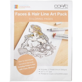 Copic Marker FACES AND HAIR Line Art Pack Coloring Pages CBLA2