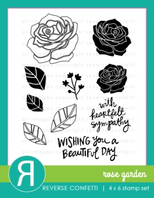 Reverse Confetti ROSE GARDEN Clear Stamp Set  zoom image