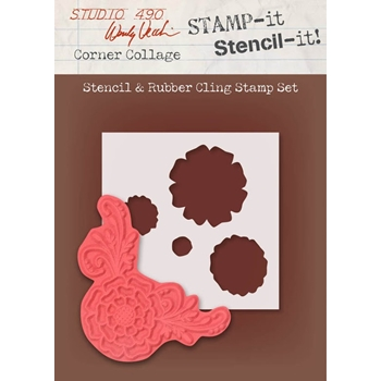 Wendy Vecchi Stamp It Stencil It! Stencil and Rubber Cling Stamp CORNER COLLAGE Studio 490 WVSTST024