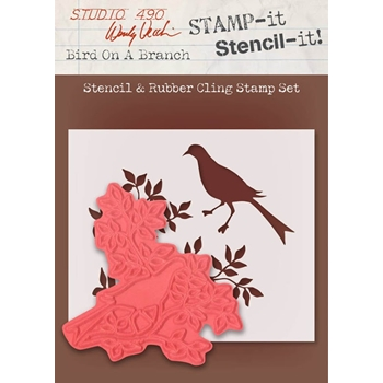Wendy Vecchi Stamp It Stencil It! Stencil and Rubber Cling Stamp BIRD ON A BRANCH Studio 490 WVSTST023