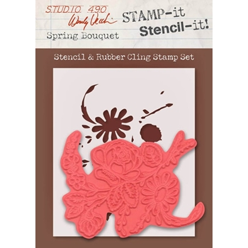 Wendy Vecchi Stamp It Stencil It! Stencil and Rubber Cling Stamp SPRING BOUQUET Studio 490 WVSTST022