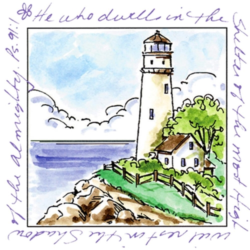 Art Impressions LIGHTHOUSE Window To The World Cling Rubber Stamp UMM3175 Preview Image