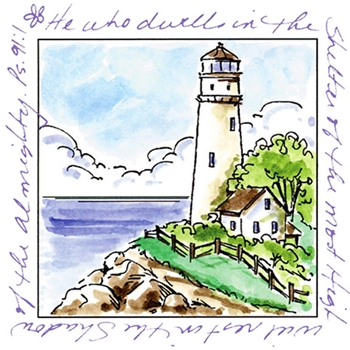 Art Impressions LIGHTHOUSE Window To The World Cling Rubber Stamp UMM3175