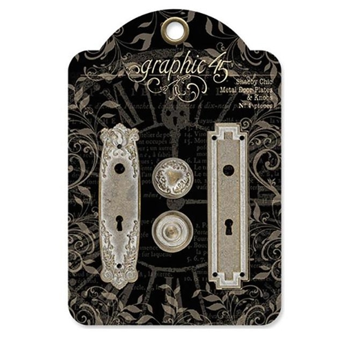 Graphic 45 SHABBY CHIC METAL DOOR PLATE AND KNOBS Staples 4501296 Preview Image