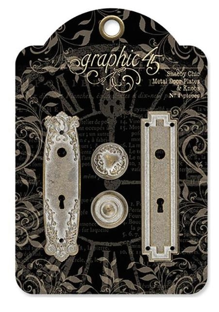 Graphic 45 SHABBY CHIC METAL DOOR PLATE AND KNOBS Staples 4501296 zoom image