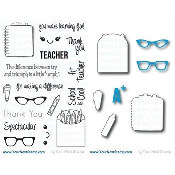 Your Next Stamp SET YNS0416ST SPECTACULAR TEACHER Clear Stamps and Dies