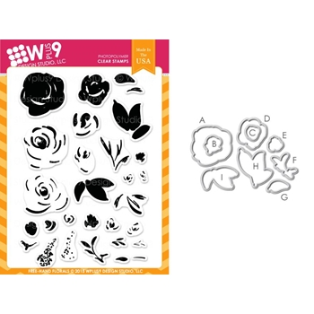 Wplus9 FREEHAND FLORALS Clear Stamp And Die Combo WPLUS297