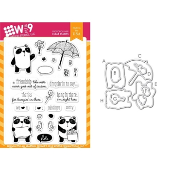Wplus9 FRIEND FOR ALL SEASONS SPRING Clear Stamp And Die Combo WPLUS300*