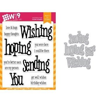 Wplus9 SENDING HOPING WISHING Clear Stamp And Die Combo WPLUS307